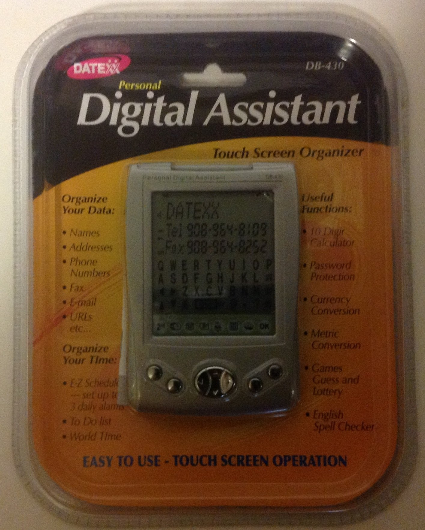 DATEXX Personal Digital Assistant Touch Screen Organizer