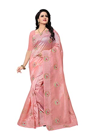 cd53e2188a Ankit Fashions Women's Jari Embroidery Organza Saree in Light Pink:  Amazon.in: Clothing & Accessories
