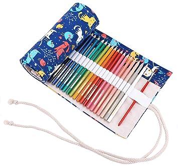 abaría - Estuche Enrollable para 72 lápices Colores, portalápices de Lona - Gato Azul (no Tiene lápices)