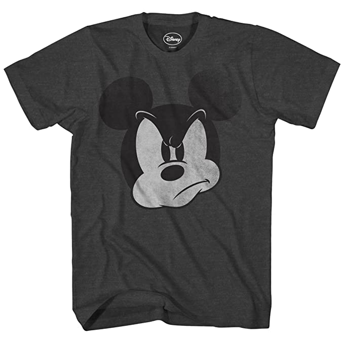 Disney MAD Mickey Mouse Adult Mens T-Shirt (Small, Heather Charcoal)