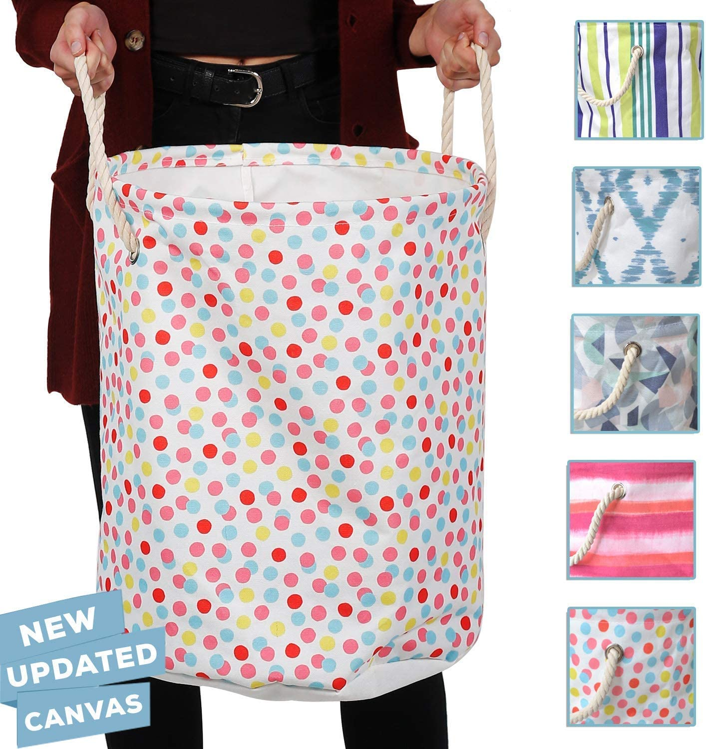 86 York Designer Laundry Hampers with Rope Handles (Polka Dots)
