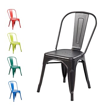 Modern Distressed Metal Stackable Dining Cafe Side Chair (set Of 4) Vintage  Tolix Kitchen