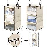 "StorageWorks 6-Shelf Hanging Closet Organizers, Two 3-Shelf Separable Closet Hanging Shelves, Canvas, Beige, 12"" W x 12…"