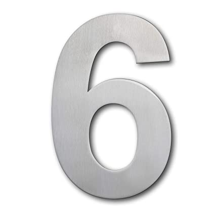QT Número de casa moderna - 15 Centímetros - Acero inoxidable (Número 6 Sies /