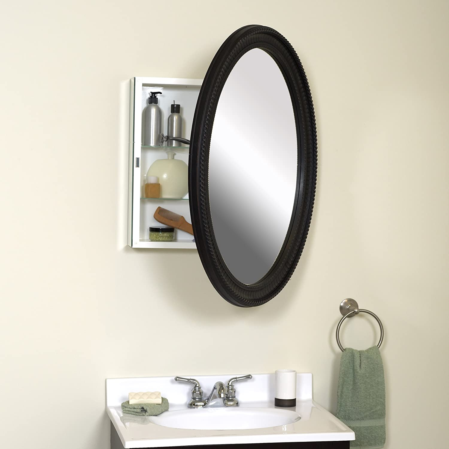 Amazon Zenith PMV2532BB Oval Mirror Medicine Cabinet Antique Pewter Home Kitchen