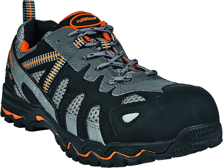 schwarz Orange grau  ruNNex® S1-Sicherheitshalbschuh LightStar, schwarz grau Orange, Gr. 42