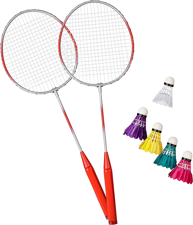 Kunststoff Federball Shopping Hero Federball Basic Set 7-teilig Schlagfl/äche ca 23x20cm Gr/ün Erwachsene! f/ür Kinder 4 Badminton B/älle mit echten Federn Ultraleichte Federballschl/äger 62cm