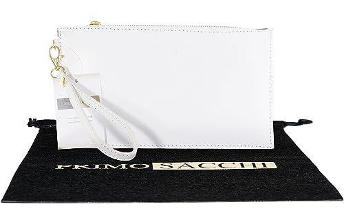 Cuero italiano blanco brillante estructura embrague o bolsa de la correa de muñeca. Incluye una bolsa protectora de marca.: Amazon.es: Zapatos y ...