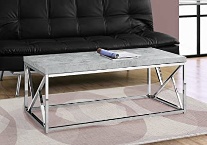 Monarch I 3375 Coffee Table Grey Cement With Chrome Metal