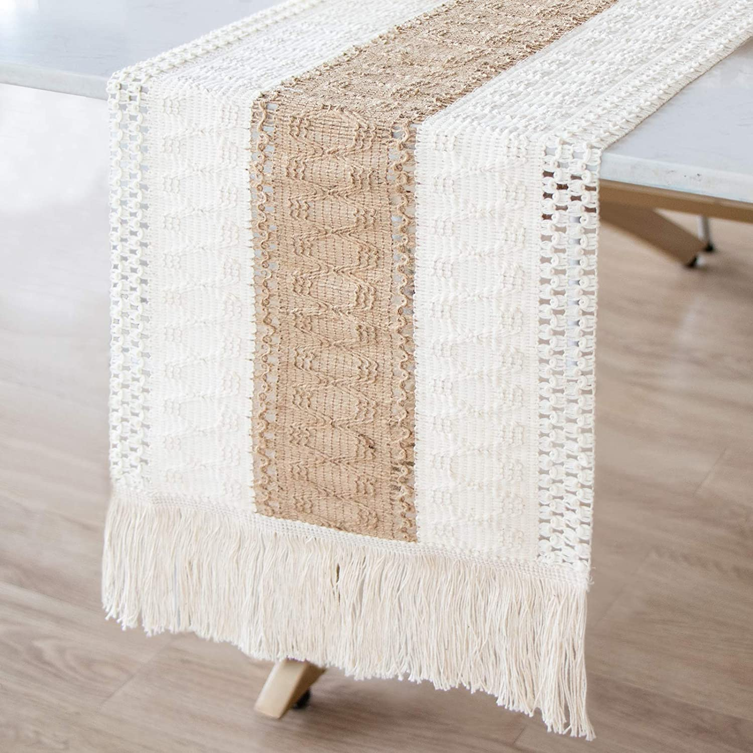 AerWo Macrame Table Runner Splicing Cotton and Burlap Table Runner, Woven Table Runner Farmhouse Style with Tassels Boho Table Runner for Wedding Bridal Shower Home Dining Table Decor, 12 x 108 Inch