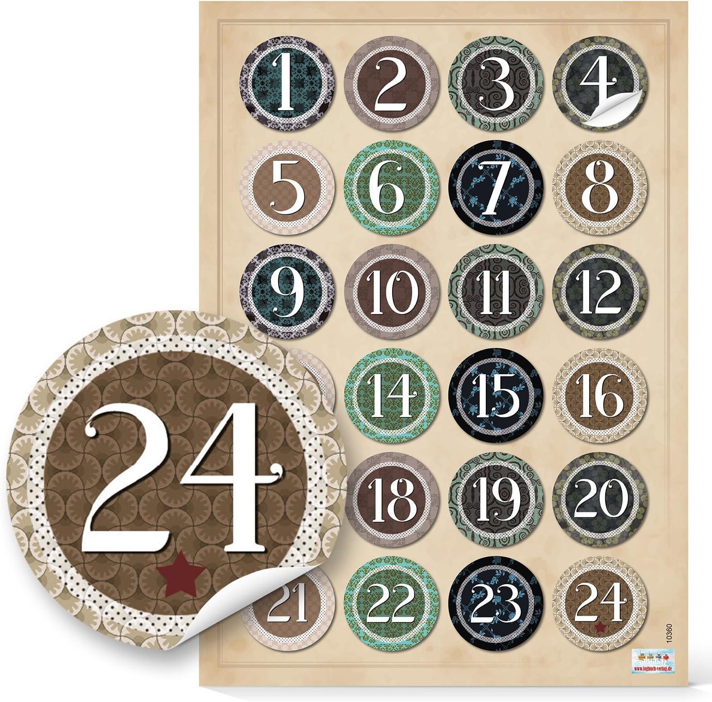 Boutons /à 24 pour calendrier de lavent rouge//vert-adventskalenderzahlen bricoler soi-m/ême 1 /à 24 autocollants patch macaron brodeur en aluminium avec une aiguille /à larri/ère