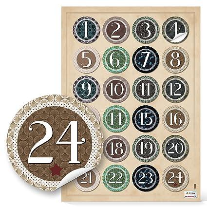 24 Adventskalenderzahlen Vintage Zum Basteln Sticker Aufkleber Adventskalender Zahlen 4 Cm Beige Grün Schwarz Natur Weihnachtskalender Etiketten 1 Bis