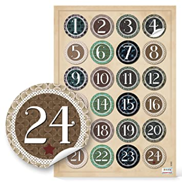 2 X 24 Adventskalenderzahlen Vintage Zum Basteln Sticker Aufkleber Adventskalender Zahlen 4 Cm Beige Grün Schwarz Natur Weihnachtskalender Etiketten 1