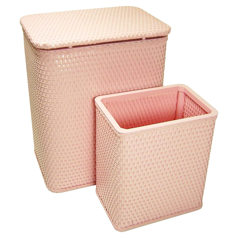RedmonUSA Redmon for Kids Chelsea Wicker Nursery Hamper and Matching Wastebasket Crystal Pink