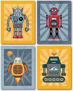 Adorable Robot Poster Set; Kids Room Decor; Four 11 x 14 Poster Prints
