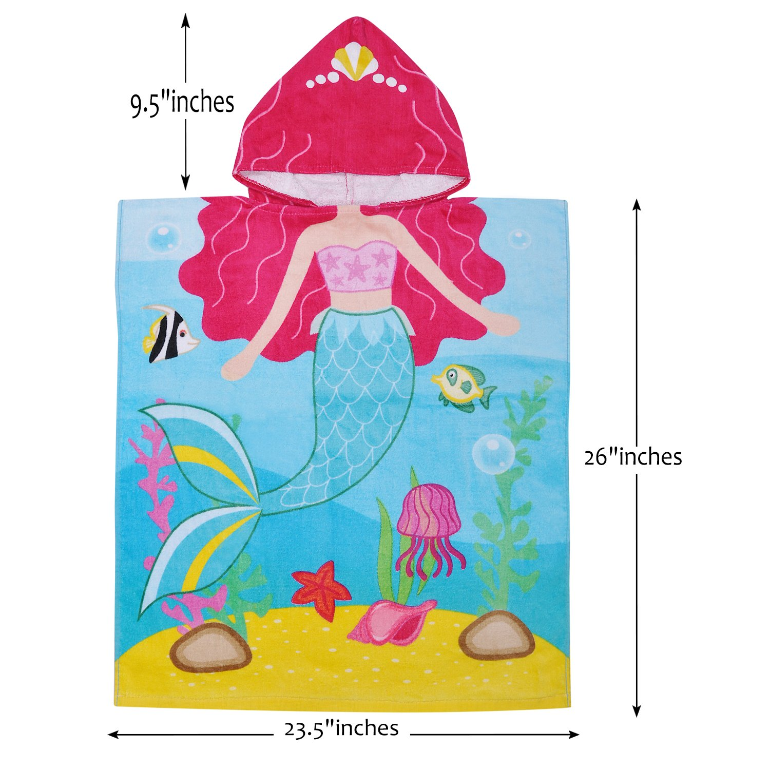 Hooded Bath Towel for 2 to 6 Years Girl,100% Cotton Water Absorption Beach Poncho Swim Changing Robe Mermaid Pattern