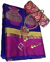 Fabattic Women's Tassar Silk Saree With Blouse Piece (Chi140 ,Blue Free Size)