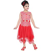 DIGIMART Girl's Red Cotton Crepe Stripe Printed Frock (SBNGC0422, Size:30)…