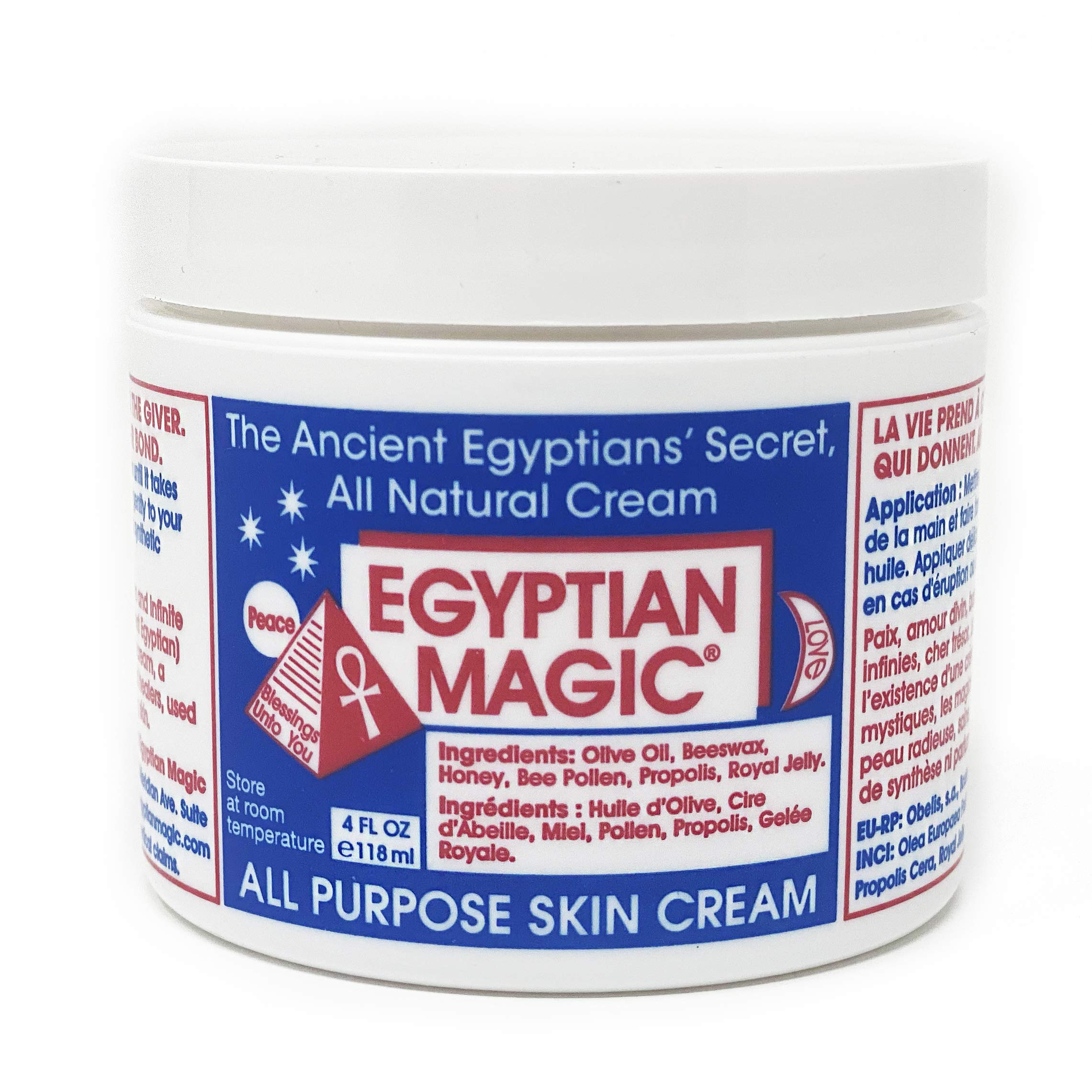 Egyptian Magic EMG10006 All Purpose Skin Cream Skin, Hair, Anti Aging, Stretch Marks All Natural Ingredients 4 Ounce Jar, 4 Ounce, Clear