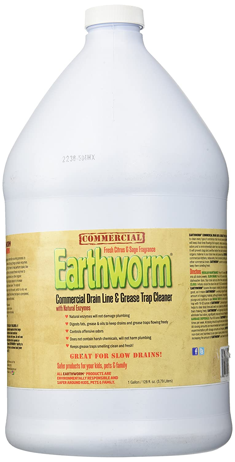 Earthworm Commercial Drain Line and Grease Trap Cleaner Treatment - Clog Remover - Drain Opener / Deodorizer - Natural Enzymes, Environmentally Responsible - 3.8l   B00PHMXPWG