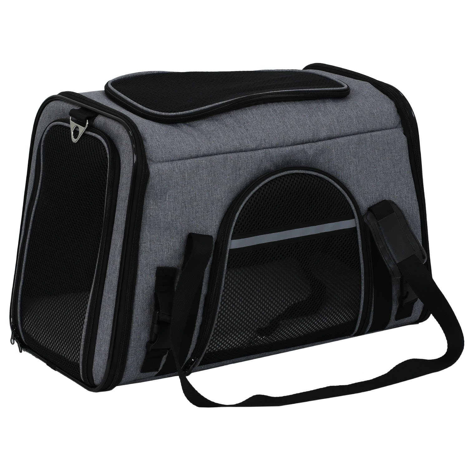 X-ZONE PET Airline Approved Pet Carriers,Comes with Fleece Pads Soft Sided Pet Carrier for Dog & Cat (Large, Charcoal gray)