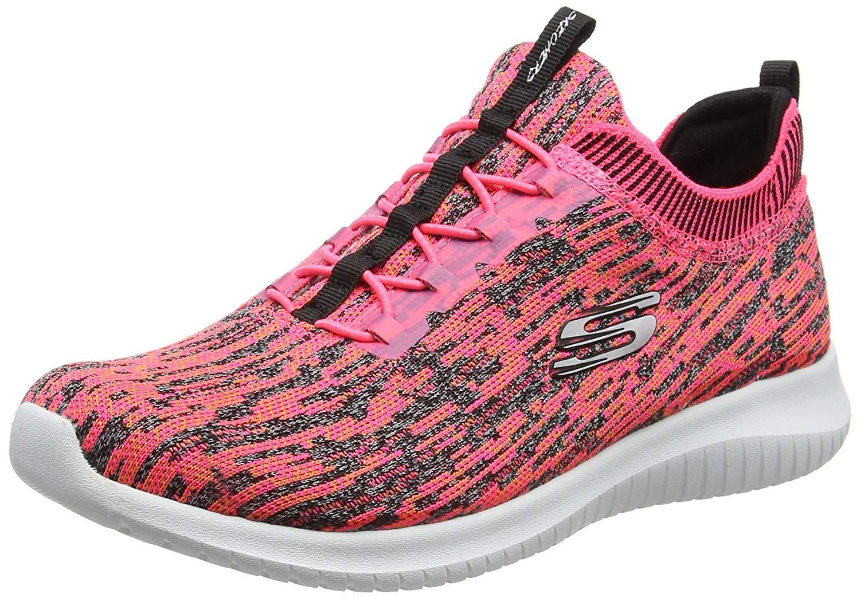 Skechers Sport Womens Ultra Flex Bright Horizon Sneaker,6 B(M) US,Pink-black
