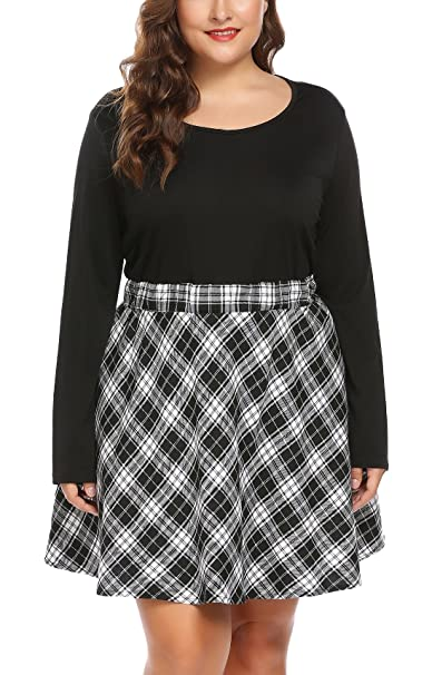 a3694a452c Image Unavailable. Image not available for. Color  Zeagoo Women Plus Size Vintage  Style Long Sleeve Plaid ...