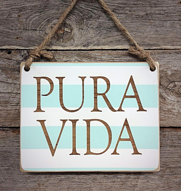 Pura Vida Small Hanging Sign - Costa Rica Decor - Pure Life - Surfing Sign