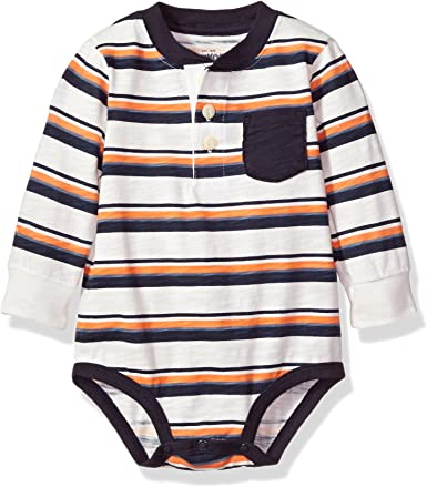 Osh Kosh Baby Boys Pocket Henley Bodysuits 18-24 Months Red