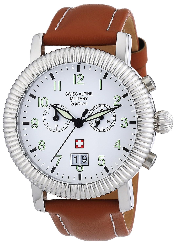 Swiss Alpine Military Herren-Armbanduhr XL AV288 Chronograph Leder 2880.9533SAM