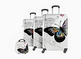Troley Travel Bags with Beauty Case By Star Line, 4 Pieces, White, 13040/4P