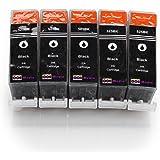 5er Set kompatible Druckerpatronen für CANON PGI-525 mit CHIP und Füllstandsanzeige   5x PGI-525BK / Schwarz   ersetzt Patronen für Canon Pixma IP4850 IP4950 IX6550 MG5150 MG5250 MG5350 MG6150 MG6250 MG8150 MX885 MX715 MX895