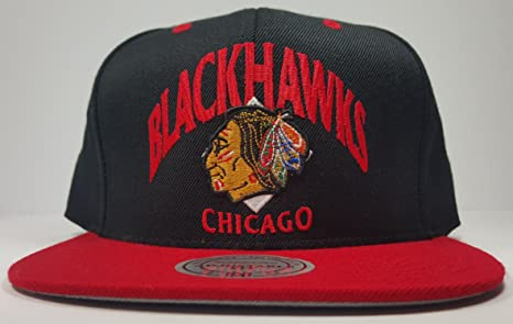 0afe2276ace Image Unavailable. Image not available for. Color  Mitchell   Ness Chicago  Blackhawks S2 Tone Grand Arch Logo Vintage Classic Adjustable Snapback Hat  NHL
