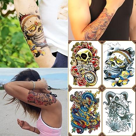 kotbs 4 hojas Mix grande tatuajes temporales Papel Colorful Skull ...