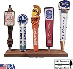 Beer Tap Display Stand - Reclaimed Redwood, Hand Made in USA, holds Five (5) Tap Faucet Handles