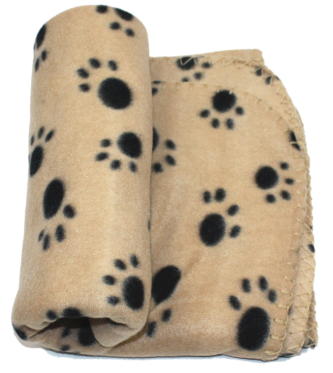 WZYuan Puppy Blanket Paw Prints Pet Cushion Small Dog Cat Bed Soft Warm Sleep Mat, Small, Beige