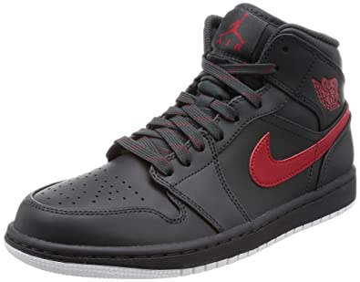 Nike Air Jordan 1 Mid, Scarpe da Basket Uomo, Multicolore (AnthraciteGym RedWhite), 42.5 EU