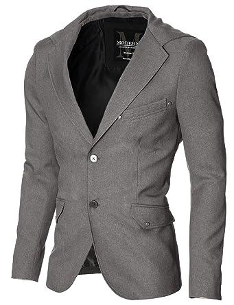 MODERNO - Slim Fit Herren Sakko Blazer mit Kapuze (MOD14516B) Grau EU XL 425488a1d6