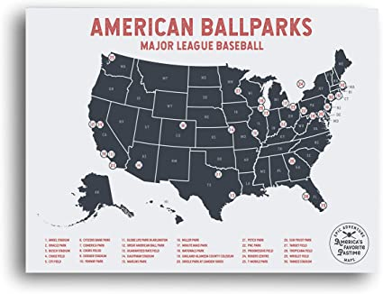 Epic Adventure Maps Major League Baseball Travel Map - Mark Your Travels to  Your Favorite MLB Baseball stadiums - Great Travelers Gifts for Men - US ...