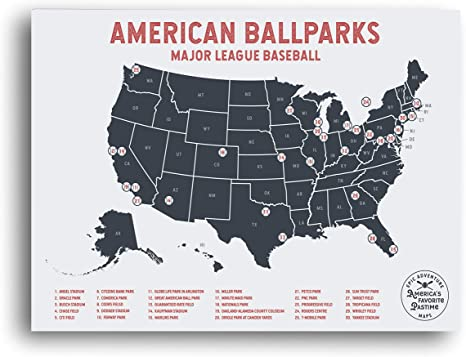 Mark Your Travels to Your Favorite MLB Baseball stadiums Great Travelers Gifts for Men US Map Poster Epic Adventure Maps Major League Baseball Travel Map