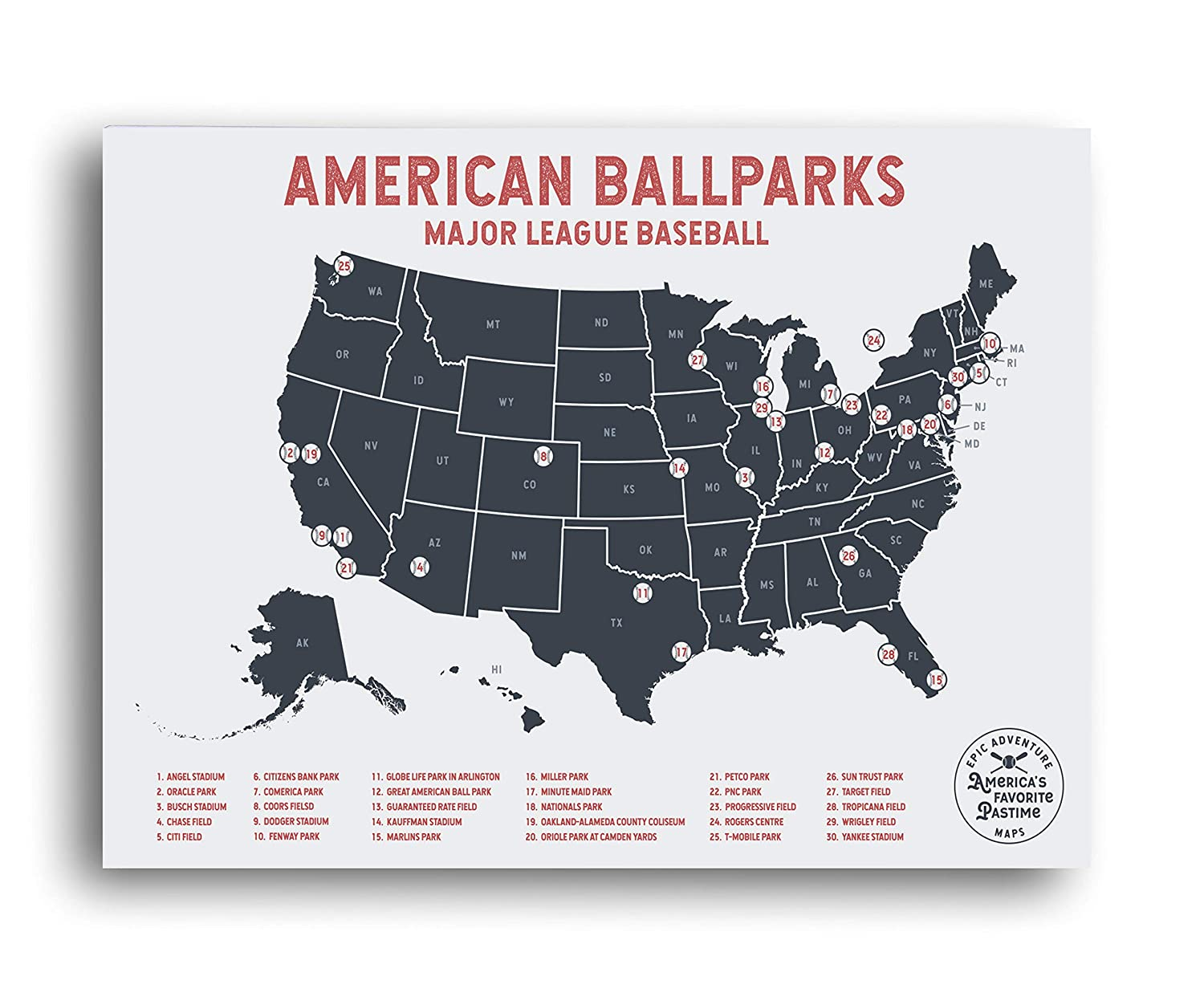 Epic Adventure Maps Major League Baseball Travel Map - Mark Your Travels to  Your Favorite MLB Baseball stadiums - Great Graduation Gift or Gift for ...