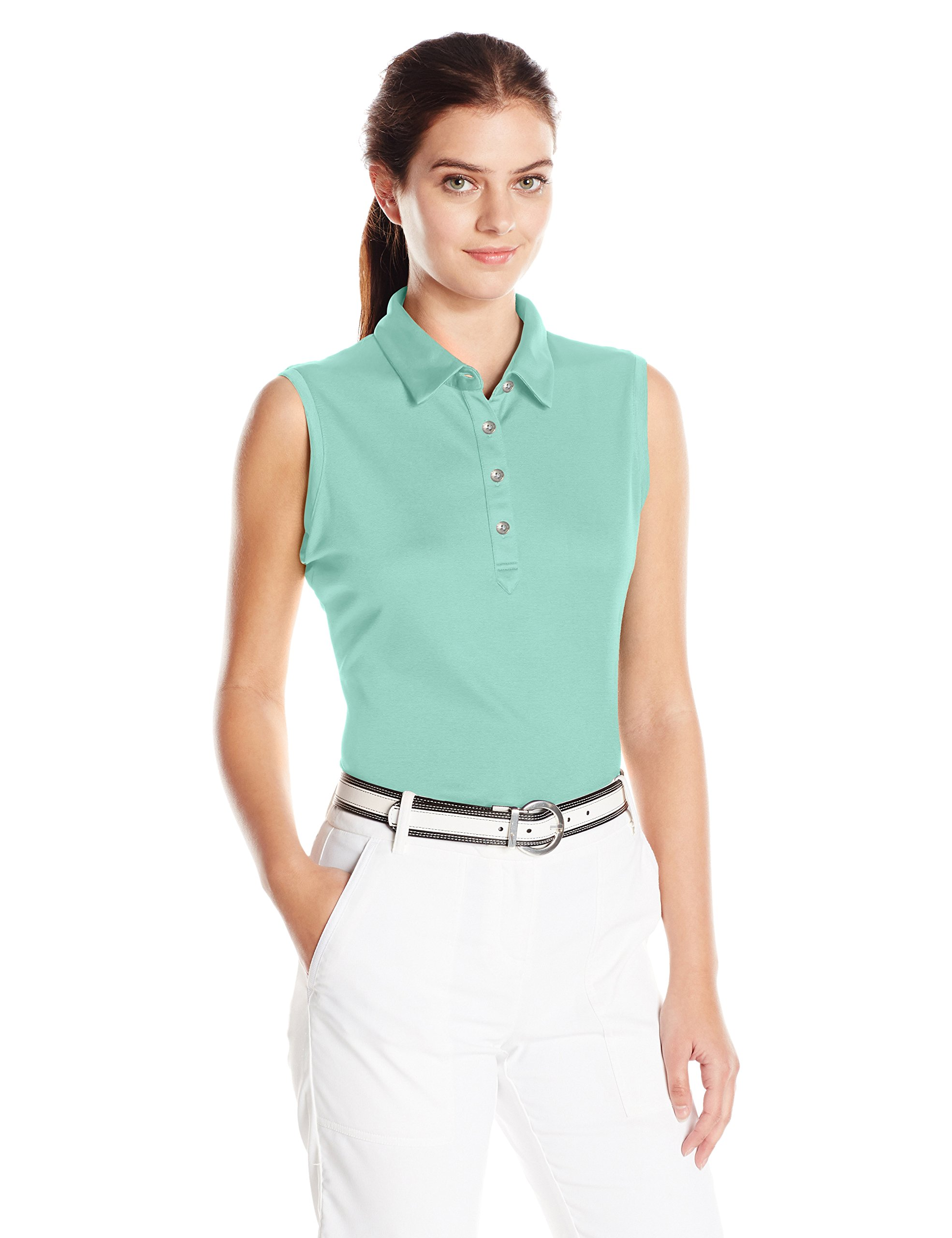 Cutter & Buck Women's Moisture Wicking, UPF 50+, Sleeveless Clare Polo Shirt, Sea Glass S