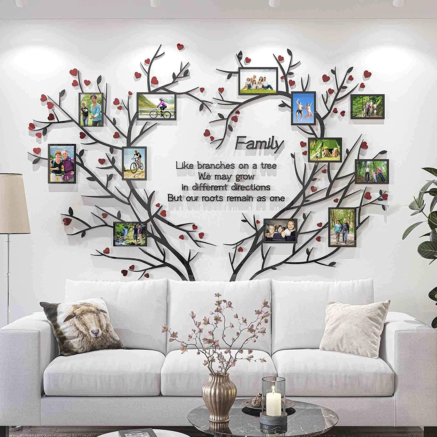 DecorSmart Love Family Tree Wall Decor Picture Frame Collage Removable 3D DIY Acrylic Wall Stickers for Living Room with Red Heart and Quote Family Like Branches on a Tree