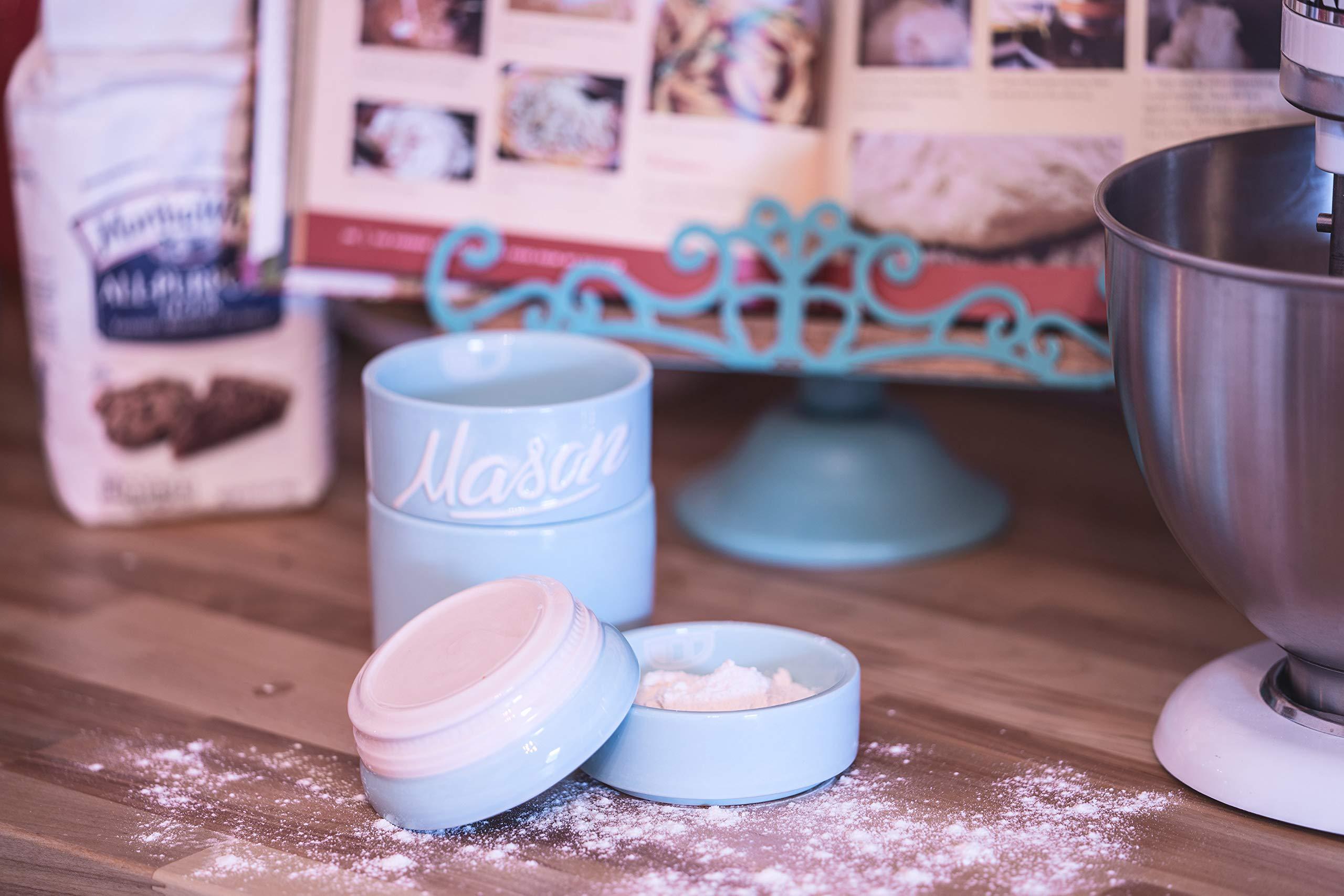 Blue Ceramic Kitchen Mason Jars   3 Piece Vintage Kitchenware Set    Measuring Cups, Measuring Spoons, Spoon Rest | Retro Farmhouse Decor |  Baking Supplies, ...