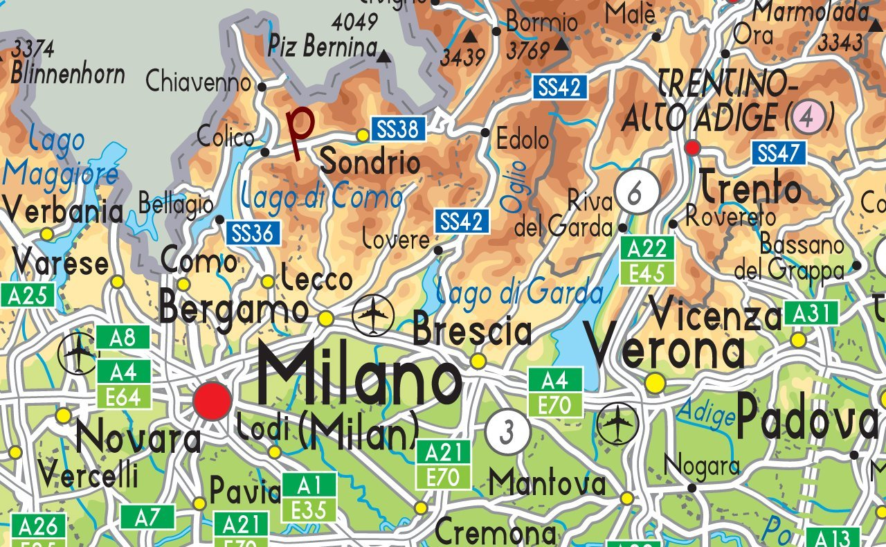 Italy Physical Map Paper Laminated A0 Size 841 x 1189 cm