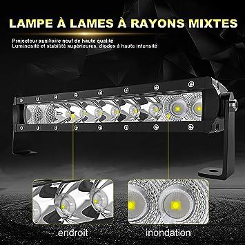 Projecteur Spot LED Blanc Lumi/ère Feux Antibrouillard 12-16V 3A 9W 6500LM 6000K pour Voitures Camion Hors Route Moto ATV Rouge Hlyjoon 2Pcs Phare de Travail
