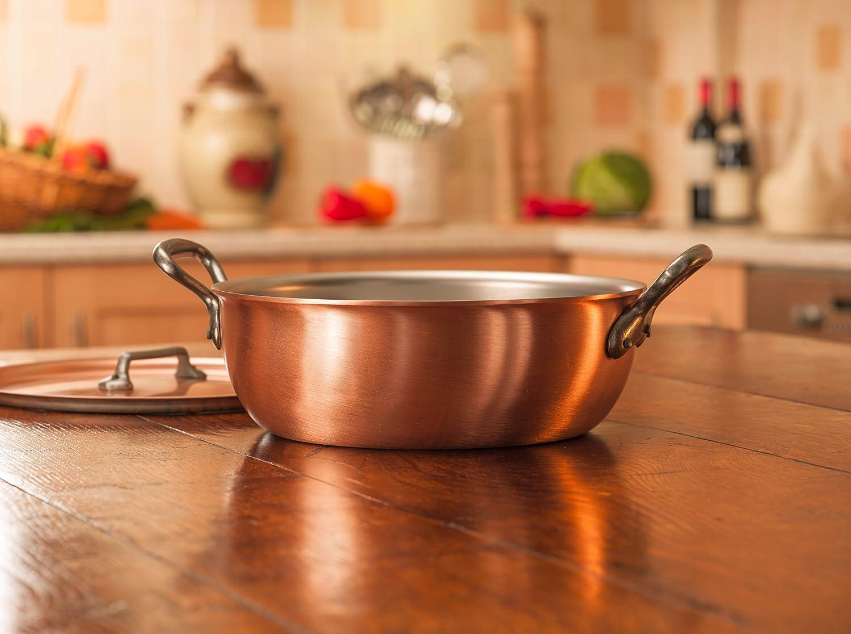 Falk culinair 20 cm cacerola de cocina de cobre con mango de hierro fundido y cubierta a juego - 1,7 litros: Amazon.es: Hogar