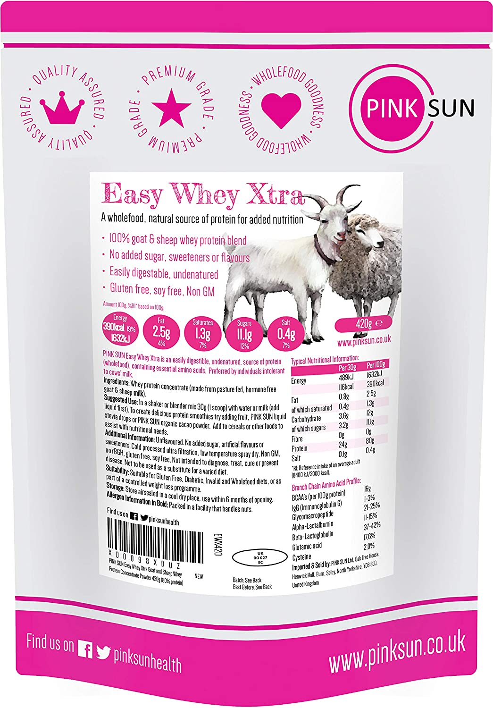 PINK SUN Proteína de Suero de Cabra y Oveja 420g sin Hormonas Neutro sin Sabor sin Gluten sin Soja Easy Whey Xtra Goat and Sheep Whey Protein ...