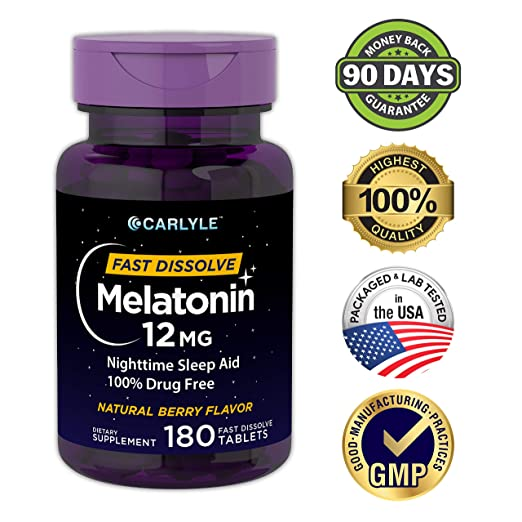 Carlyle Melatonin 12 mg Fast Dissolve 180 Tablets | Nighttime Sleep Aid | Natural Berry Flavor | Vegetarian,...