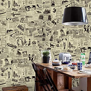 Peel And Stick Wallpaper Removable Vintage Newspaper Wall Paper Decorative Self Adhesive Shelf Drawer Liner Roll 17 7 Inch By 9 8 Feet Amazon Com